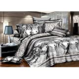 Queen Size 3d Bedding Sets,100% Cotton, Several Gray wolves 4 Piece Duvet Cover Bedding Sets,include 1 Duvet Cover,1 Bed Sheet, 2*pillow Case,not Include Any Filler or Comforter