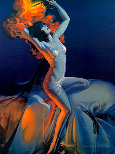 A SLICE IN TIME 1940's Pin-Up Girl Arabian Nights - Rolf Armstrong Vintage Pin Up Wall Decor Art Poster Picture Print. Poster measures 10 x 13.5 inches (Arabian Nights Wall Art)