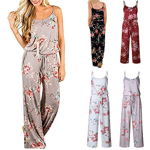 Gugio Women's Floral Printed Jumpsuits Solid Rompers Casual Comfy Striped Jumpsuit with Pockets Black