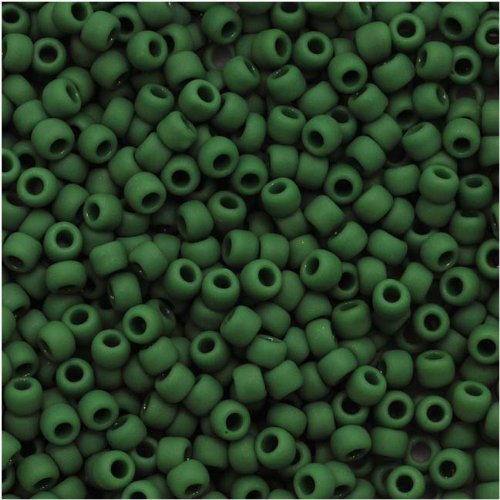 Toho Round Seed Beads 11/0#47HF 'Opaque Frosted Pine Green' 8 Gram Tube