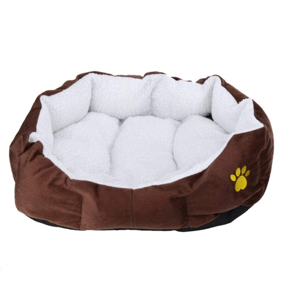 Brown L 60x55cm Brown L 60x55cm SHYPwM Pet Dog Bed Warming Dog House Soft Material Nest Dog Baskets Fall and Winter Warm Soft Fleece Mat Kennel for Cat Puppy (color   Brown, Size   L 60x55cm)