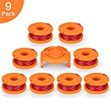 POSUGEAR Replacement 0.065'' Grass Trimmer Line Spool for Model Worx WA0010, 9 Pack (8 Replacement Spool, 1 Trimmer Cap)