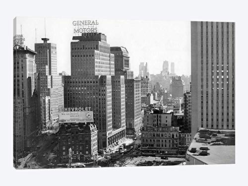 at 61St Street Coliseum Tower Columbus Circle Excavation for New Building Bottom Center New York City NY USA - Canvas Wall Art Gallery Wrapped 26
