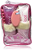 Bath Accessories Cable-Knit Slippers Foot Spa Set, Pink Sugar