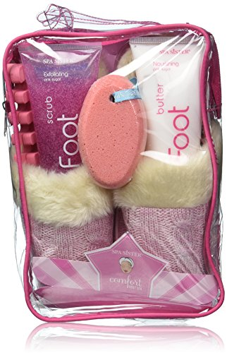 Bath Accessories Cable-Knit Slippers Foot Spa Set, Pink Sugar by Bath Accessories (Image #2)