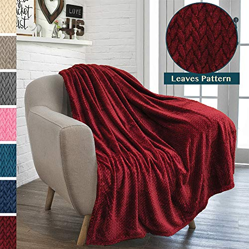 PAVILIA Luxury Soft Plush Wine Red Throw Blanket for Sofa, Couch | Silky Velvet Fleece Chevron Pattern Throw | Cozy Lightweight Microfiber, Reversible Burgundy Blanket | All Season | 50 x 60 Inches