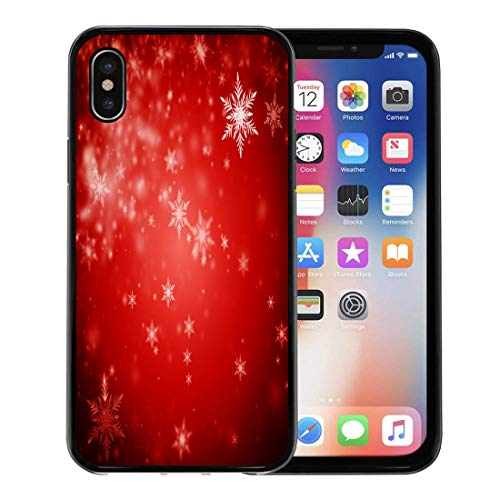 Emvency Phone Case for Apple iPhone Xs Case/iPhone X Case,Blur Abstract Dark Deep Red Christmas of Defocused Snowflakes Soft Rubber Border Decorative, Black