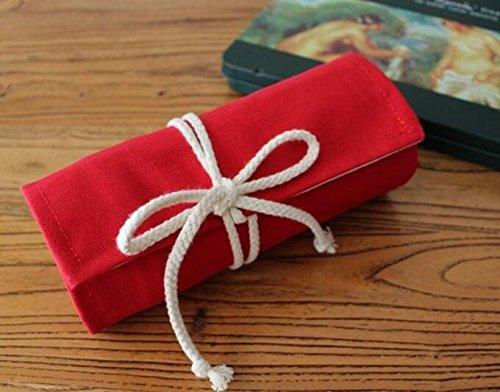 Tuersuer Foldable Pencil Bag Stationary Storage Bag 72 Holes Pencil Case (Red)
