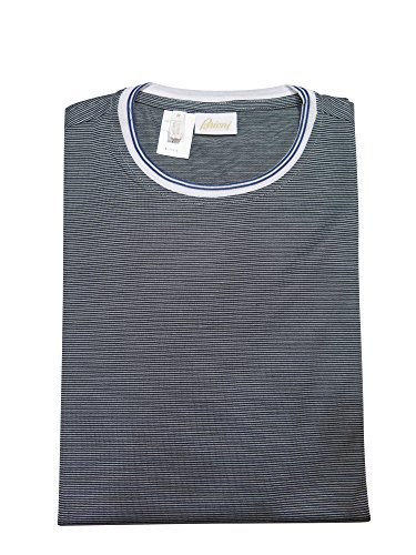 brioni-gray-blue-striped-silk-short-sleeve-sweater-t-shirt-m