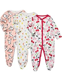 0ddb98d11e Baby Footed Pajamas Sleeper - 3 Packs Infant Girls Boys Cotton Long Sleeve  Jumpsuit Newborn Romper