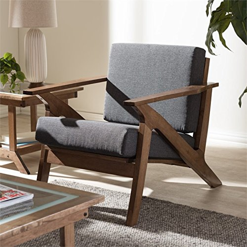 Baxton Studio Cayla Lounge Chair Grey/Walnut Brown/Mid-Century (Danish Lounge Cushions Chair)