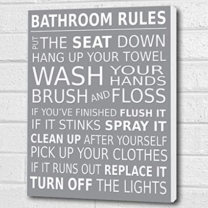 Cool Bathroom Rules Wall Art Box Canvas Light Grey A3 12X16 Inch Download Free Architecture Designs Scobabritishbridgeorg