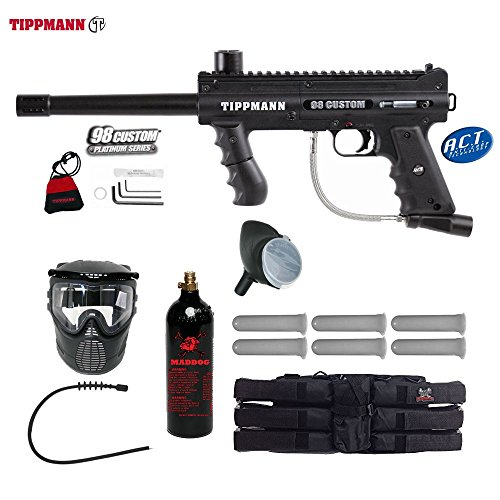 Accessories Tippmann 98 Model (MAddog Tippmann 98 Custom ACT Titanium Paintball Gun Package - Black)