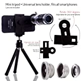 Smart Phone Universal Camera Lens Kit for most cell phones(Apple iphone 5, iphone 4, 4s, iPhone 3,3s, Samsung Galaxy S3, S2, Samsung Note II GT-N7100, Samsung Galaxy S3 mini, HTC ONE X, Blackberry Bold Touch, Motorola Droid) and Many more Smart phones / One 12x Silver Aluminium Telephoto Manual Focus Telescopic Camera Lens / One Fish Eye Lens / One 2 in 1 Macro Lens and Wide Angle Lens / One Mini Tripod / One Lens and Phone Holder / One ECO-FUSED® Microfiber Cleaning Cloth included – Fits MOST PHONES!, Best Gadgets