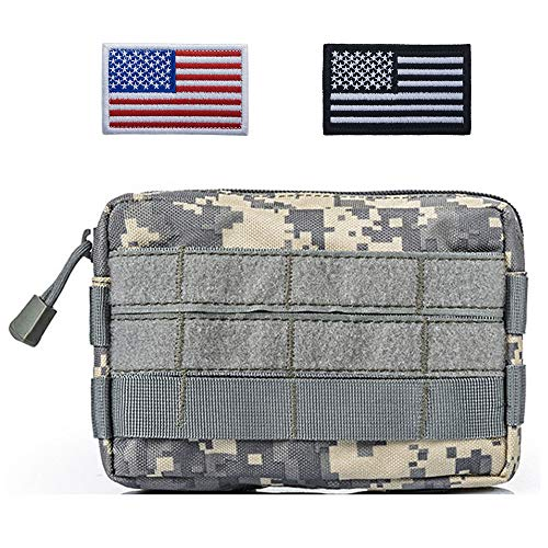 - TOPTIE Tactical Molle Pouch, Horizontal Admin Pouch Small Utility EDC Gear Tool Bag (Two American Flag Patches Optional)-ACU Combination
