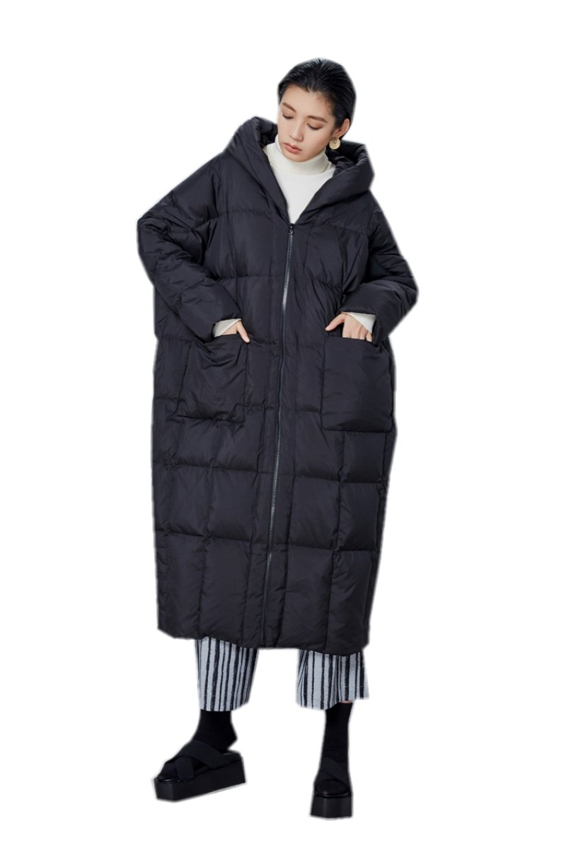 Katuo Women's Cocoon Style Thickened Light Weight Long Coat Hooded (S, Black)