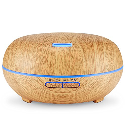 Amir® Aroma Essential Oil Diffuser, Electric Wood Grain Ultrasonic Cool Mist Humidifier with 7 Changing Color LED Lights, 4 Timer Settings and Waterless Auto Shut Off