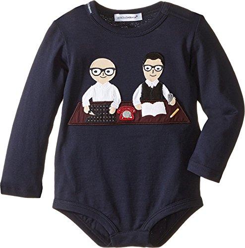 Dolce & Gabbana Kids Baby Boys' Patch Designers One-Piece (Infant), Dark Blue, 6-9 - Gabbana Dark Blue Dolce And