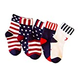 CSXD Child USA Flag Socks Independence Day Star and Stripes Boys Cotton Crew Sock Pack 5, 3-5 Years