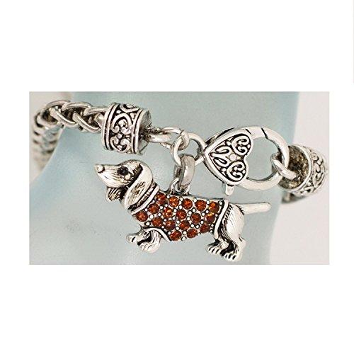 Bracelet ~ Dachshund Dog ~ Smoked Topaz Rhinestone (Topaz Rhinestone Accents)
