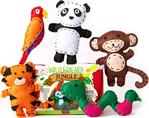 Crafting Kit - Four Seasons Crafting Kids Sewing Kit and Animal Crafts - Fun DIY Kid Craft and Sew Kits for Girls and Boys 120 Piece Set