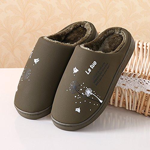 Inverno fankou carino pantofole di cotone principessa home bassa pacchetto con più spessa coperta scarpe antiscivolo scarpe caldo, 44/45 (consigliato 43/44 usura), - verde scuro