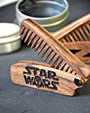 Star Wars Beard comb wood - moustache comb - Anti-Static Wooden Folding Comb for Men with Sugar skull. Great with beard Balm and beard oil Fathers Day gift Grooming kit Pocket size Gift for men