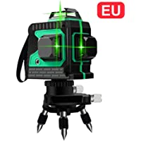 iYoung Niveaux Laser Vert 3D avec 12 Lignes 3D avec 3 lumières Laser Lumières Couverture à 360 ° avec Mise à Niveau Automatique Ligne Horizontale et Verticale traversant Un Faisceau Laser Vert