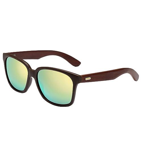 Gafas de sol de madera de bambú, Gafas de sol de madera hechas a mano, Hombres Gafas de madera de la...