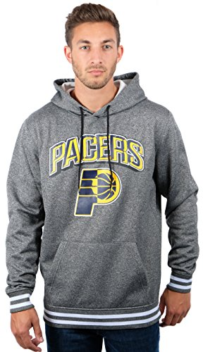 fan products of NBA Men's Indiana Pacers Fleece Hoodie Pullover Sweatshirt Rib Stripe, Large, Gray