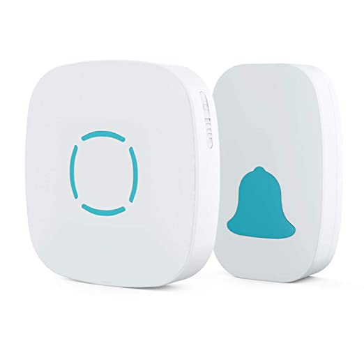 Mo Ko Wireless Doorbell, Plug In Push Button With 36 Chimes, 5 Level Adjustable Volume, Battery Operated Transmitter (No Battery Required For Receiver), Work Over 490 Feet (150m) Range, White by Mo Ko