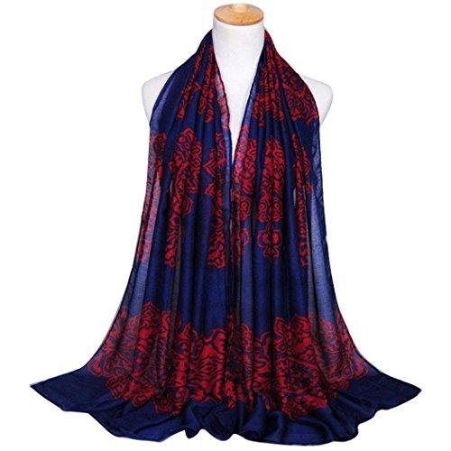 Oksale Autumn Women Long Printed Georgette Scarf Wrap Pashmina Shawl Scarves (Red)