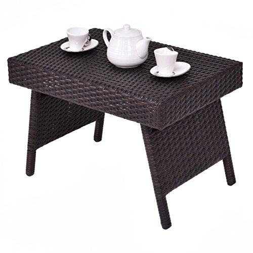 Custpromo Outdoor Patio Folding Wicker Side Table Steel Frame Standing Coffee Table, Brown -