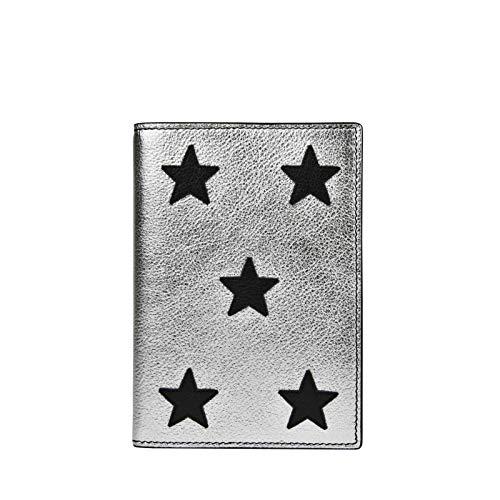 Yves Saint Laurent Women's Silver Metallic Leather Passport Holder 396921 8163