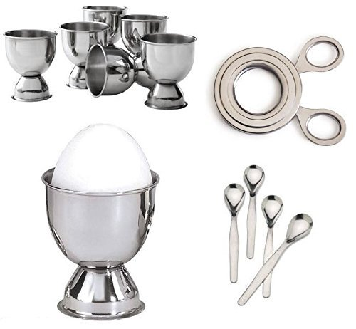 Stainless Steel Soft Boiled Egg Set - 6 Cups, 4 Spoons & Eas