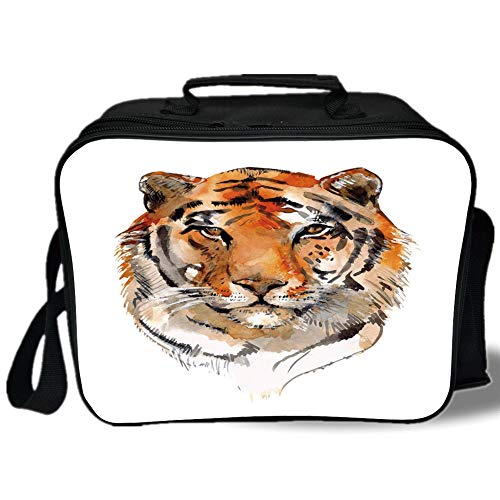 Tiger 3D Print Insulated Lunch Bag,Feline Animal with Calming Stare Hand Drawn Watercolor Art Exotic Wildcat Hunter,for Work/School/Picnic,Orange Black ()