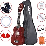 "ADM 21"" Economic Soprano Ukulele Start Pack with Gig bag, Tuner, Brown"