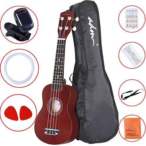 """ADM 21"""" Economic Soprano Ukulele Start Pack with Gig bag,"""