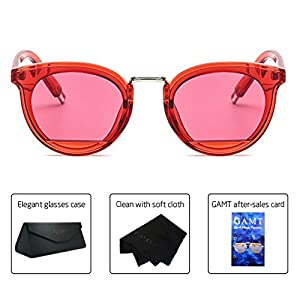 GAMT Retro Candy Colorful Lens Sunglasses for women and men Classic Brand Designer Eyewear Glasses Red frame red