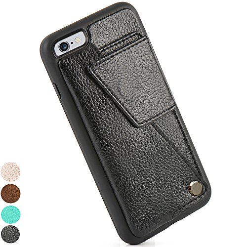 iPhone 6s Wallet Case, ZVE Wallet Phone Case iPhone 6 Case with Credit Card Holder and ID Card Slot, Screen Protector iPhone 6s Card Case Shockproof Cover for Apple iPhone 6/6s (4.7inch) Black