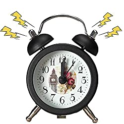 Antique Metal Digital Alarm Clock, Vintage Style Metal Alarm Clock Twin Bell Mini Digital Alarm Clock Mute with Lights Twinkling Bell for Bedroom Student