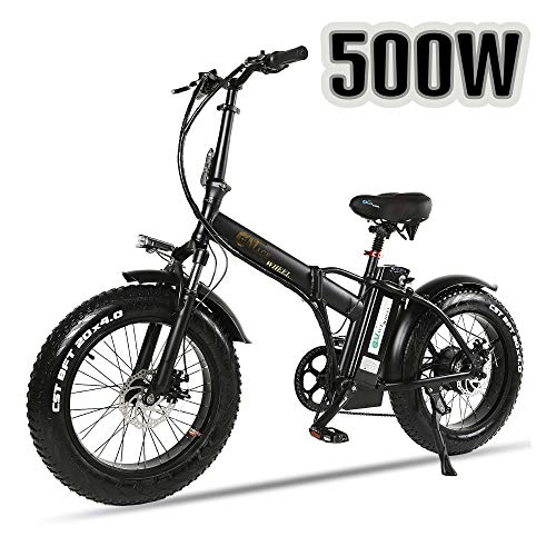 XXCY Folding Electric Bike 500w e-bike 20' * 4.0 fat tyre 48v 15ah battery LCD Display with 5 Levels pas speed (black)