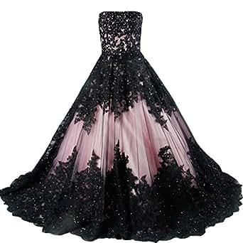 kivary vintage black lace a line long corset strapless