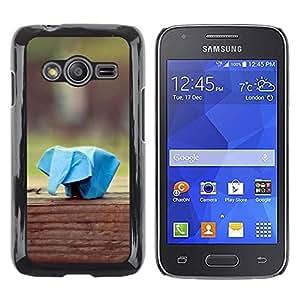 TECHCASE**Cubierta de la caja de protección la piel dura para el ** Samsung Galaxy Ace 4 G313 SM-G313F ** Paper Animal Plane Elephant Blue Art