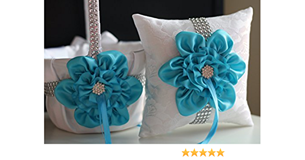 Wedding Accessories Something Blue Ready To Ship Discounted 25/% TURQUOISE NAVY  FLOWER Girl Basket Brooch Wedding Basket