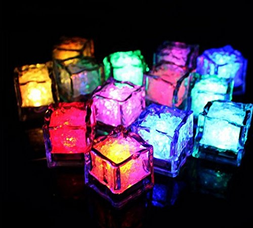 URToys 12Pcs Water Sensor Seven Colors Changing Blinking Flashing Colorful Led Ice Cubes Event Party LED Luminous For Wedding Club Bar Drink KTV Decoration (Halloween Drinks That Smoke)