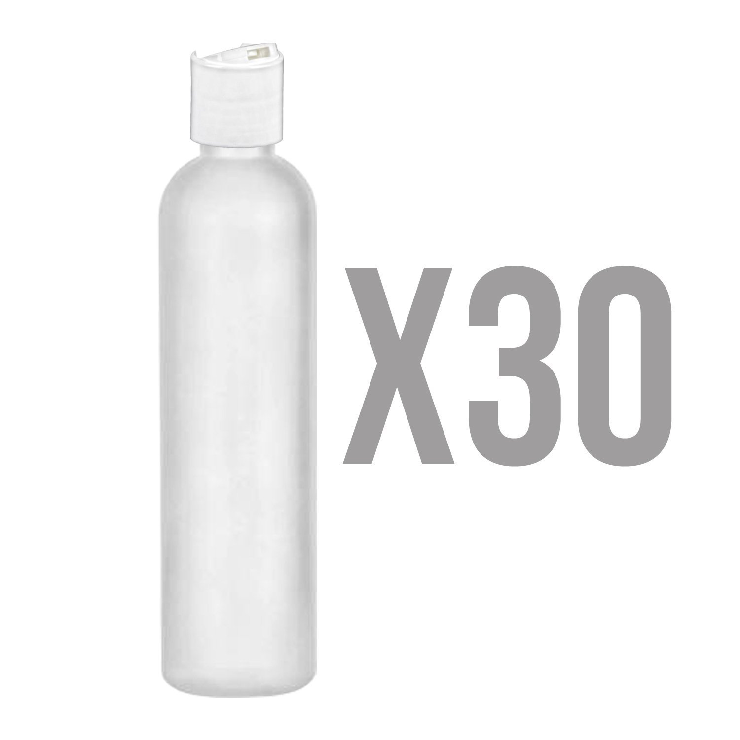 MoYo Natural Labs 4 oz Travel Bottles, Empty Travel Containers with Disc Caps, BPA Free HDPE Plastic Squeezable Toiletry/Cosmetic Bottle (Neck 20-410) (Pack of 30, HDPE Translucent White)