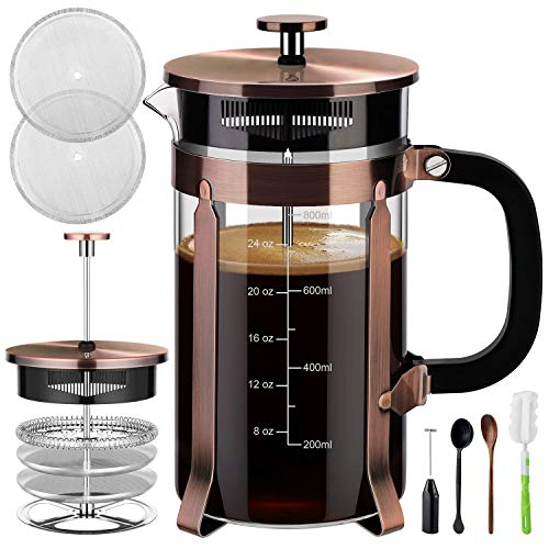 Veken French Press Coffee Maker (34 oz), 304 Stainless Steel Coffee Press with 4 Filter Screens, Durable Easy Clean Heat...