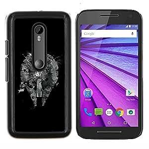 TECHCASE---Cubierta de la caja de protección para la piel dura ** Motorola MOTO G3 ( 3nd Generation ) ** --Resumen Plan de Negro monocromo