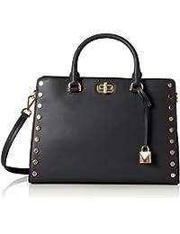 Sylvie Studded Large Leather Satchel Shoulder Handbag